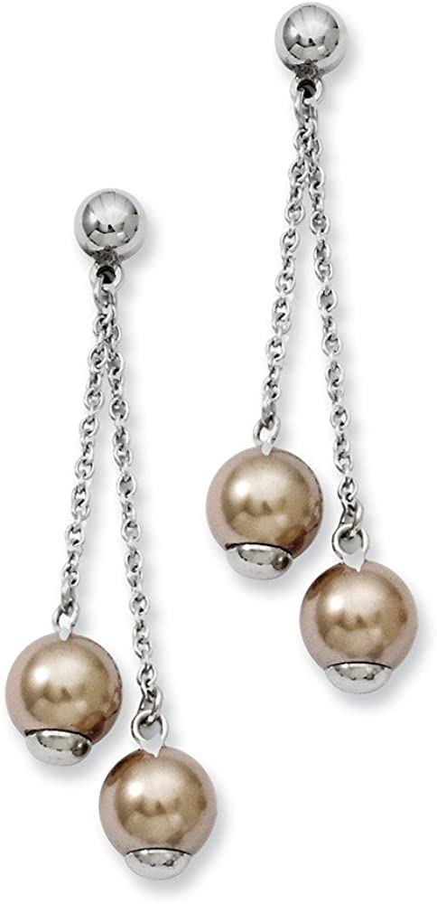 Stainless Steel Champagne Simulated Pearl Post Stud Drop Dangle Chandelier Earrings Fashion Jewelry For Women Gifts For Her