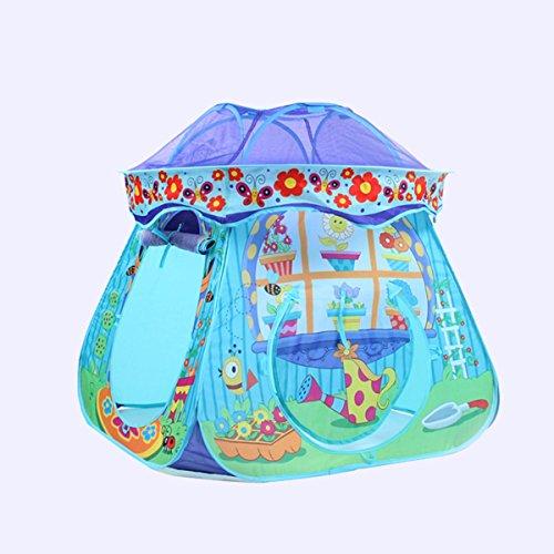 Nwn Tenda da Gioco per Bambini Pieghevole Gioco House Marine Ball Pool Tunnel Interno ed Esterno per Funghi (Blu, Viola, Giallo 87 * 87 * 88cm Confezione da 1) (Color : Blue)