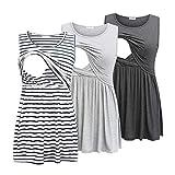 Bearsland Women's Maternity Nursing Tank Tops Sleeveless Scoop Neck Breastfeeding Shirt Pregnancy Clothes,deep Gray&Light Gray&White Stripe,XXL