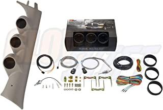 GlowShift Diesel Gauge Package for 2007-2013 Chevrolet Silverado Duramax & GMC Sierra - Tinted 7 Color 60 PSI Boost, 1500 Pyrometer EGT & Transmission Temp Gauges - Color Matched Tan Triple Pillar Pod