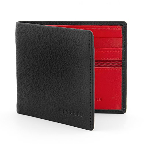 Gryphen, Wilmore, portafoglio in pelle pieghevole con interno a contrasto Rosso Black / Red