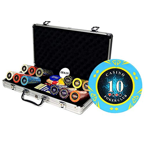 Bueuwe Poker Chips Set, 300PCS Poker Chips with Aluminum Case&Playing Cards&Dice&Tablecloth, for Texas Holdem Blackjack Gambling