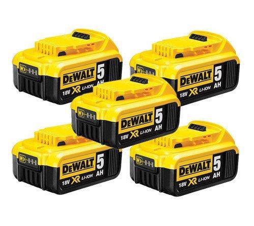 DEWALT DCB184 Batteria a Scorrimento da 18 V XR 5 Ah, Confezione da Cinque