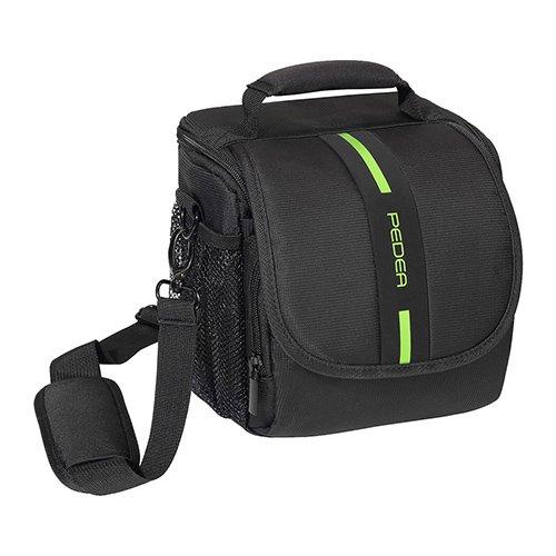 PEDEA SLR Kameratasche für Sony Alpha 7R, Alpha 7s, SLT-A57, SLT-A77V / Panasonic Lumix DMC-FZ72 / Olympus E-M5 OM-D (Größe M) schwarz/grün mit Displayschutzfolie