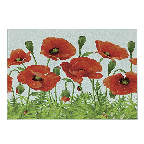 Lunarable Ladybugs Cutting Board, Horizontal Border with Red Poppy Flower Bud Poppies Chamomile Wildflowers Lawn, Decorative Tempered Glass Cutting and Serving Board, Small Size, Red Green