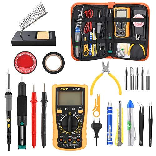 Kohree 24 piezas Kit Soldador de Estaño 60W Temperatura Ajustable Multímetro Digital...
