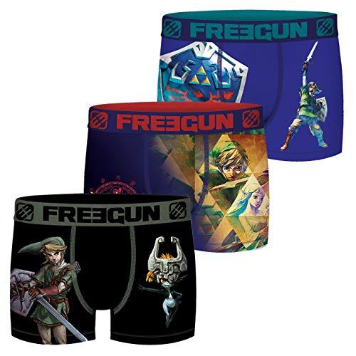 FREEGUN The Legend of Zelda Herren Boxershorts 3er Pack Nintendo Hyrule Link Triforce Meisterschwert Druck ohne Eingriff S M L XL XXL, Größe:L, Farbe:Motivmix