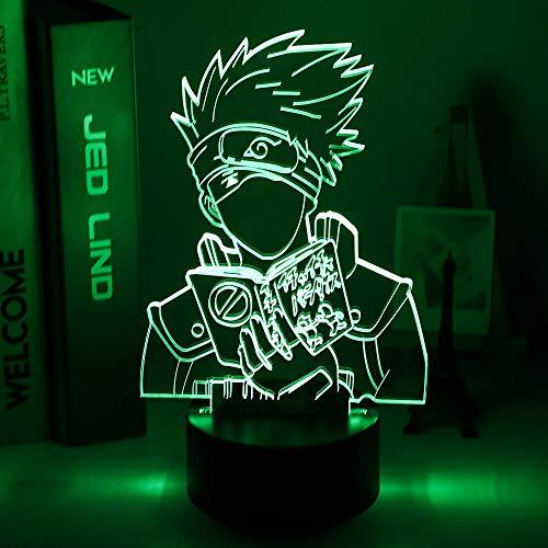Luz de noche LED 3d Anime japonés Naruto Kakashi Hatake Icha Icha Paradaisu figura luz nocturna para decoración de dormitorio infantil lámpara de escritorio
