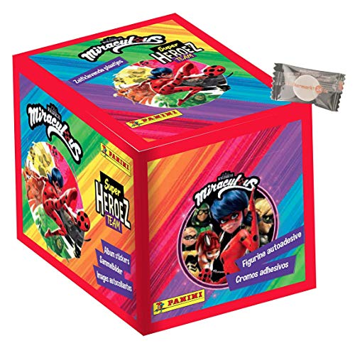 Panini Miraculous Ladybug Sticker - Miraculous Super Heroez Team (2021) - 1 Display (50 Tüten) - Miraculous Sammelsticker + stickermarkt24de Gum