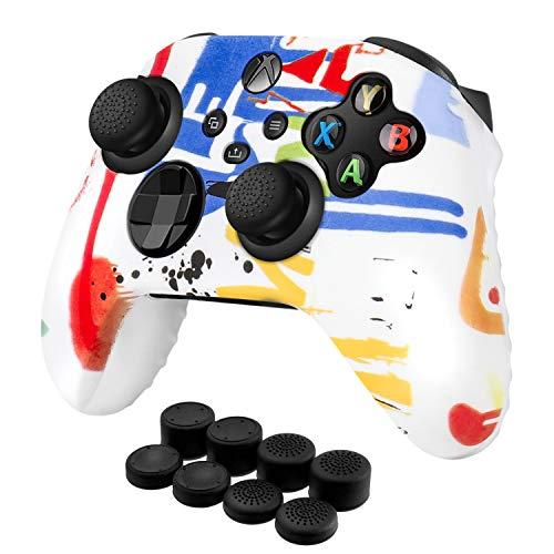 TNP Controller Cover Skin Case + 8 Daumengriffe Set (Lack) Kompatibel mit Xbox Series X/S - Weiches Anti-Rutsch-Silikongel & Gummi Stick Caps Zubehör für Videospiele Gaming Gamepad