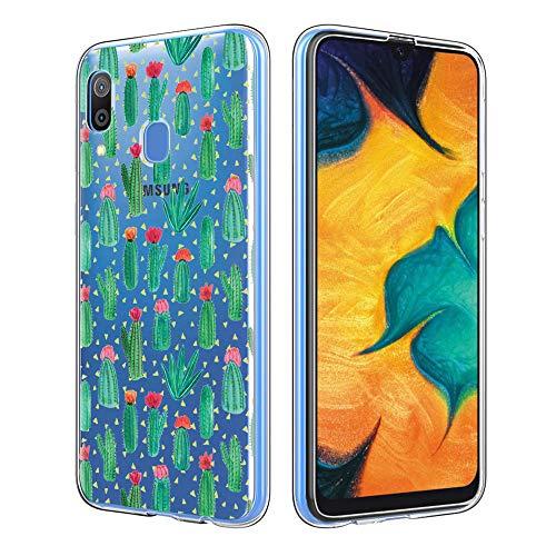 ZhuoFan Funda Samsung Galaxy A30, Cárcasa Silicona Transparente con Dibujos Diseño Suave TPU Antigolpes de Protector Piel Case Cover Bumper Fundas para Movil Samsung A30 / A20 2019, Cactus