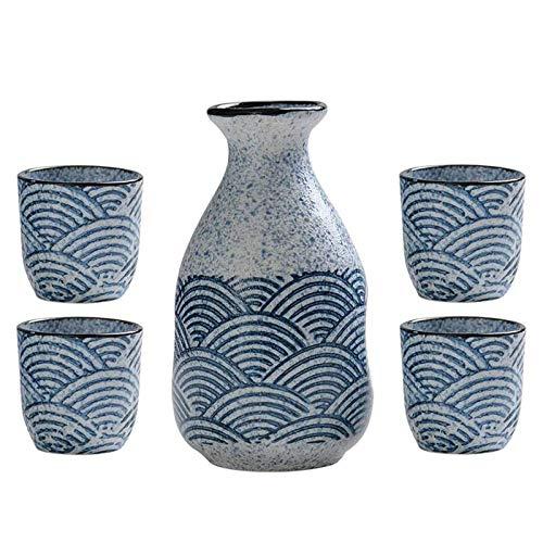Juego de servir de sake japonés de 5 piezas hecho de cerámica, con 1 botella de sake/tarro de vino y 4 tazas, tazas de cerámica tradicionales, copas de vino, regalo de artesanía,5pcs