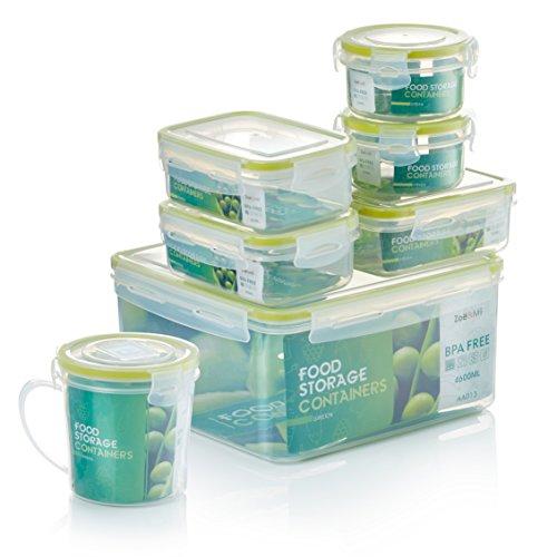 Zoë&Mii Premium 14 Teilige Smart Lock, Deckel, Frischhaltedosen Set, Dosen, Vorratsdosen, Plastikboxen, klick, Luftdicht Deckel,Boxen, Dosen,Set,Food Container, Vesperbox,