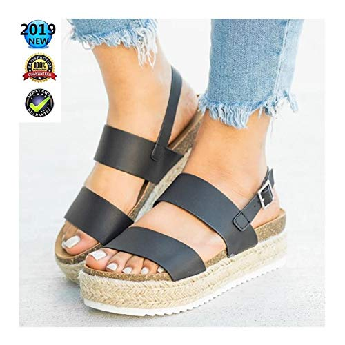 Sandals V-hak Dames Wedges Espadrilles zomer Elegant Plateau enkelriem gesp V-sandalen plat leer Peep Toe Comfortabele casual schoenen 3 cm hoge hak zwart