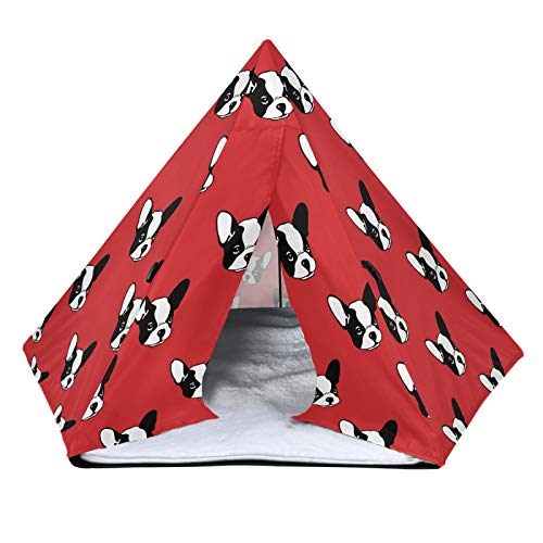 ALAZA Pet Teepee French Bulldog Head Portable Small Pet Tent Dog Houses with Fuzzy Pet Mat 24 inch for Dog Cat Rabbit