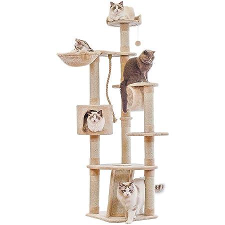 RAKU キャットタワー 据え置き ビッグキャットツリー 高さ177cm 多頭飼う 大型猫 ジュニア猫 子猫向け ハンモック付き トンネル おもちゃ ベージュ 組立簡単 安定性 (キャットタワー本体)