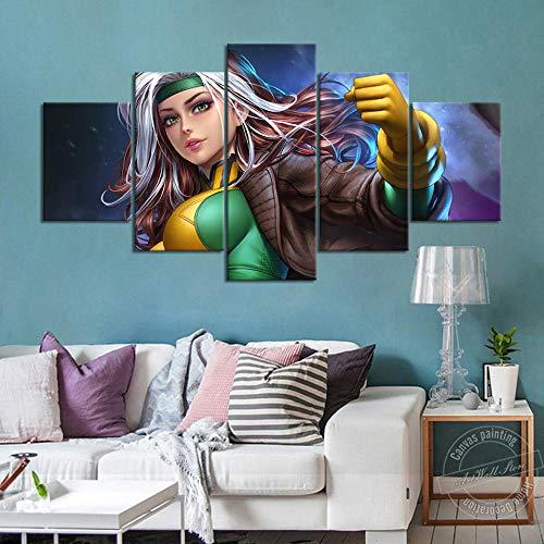 TOPRUN Modern Wandbilder XXL 5 TLG 150x80cm Wanddekoration Design wandbild Wohnzimmer Wohnung Deko Kunstdrucke Fertig zum Aufhängen bereit Wählbarer Rouge X-Men Film
