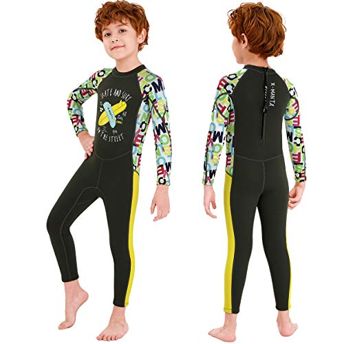 OUTYFUN Wetsuit Kids Boys Girls 2.5mm Neoprene One Piece Thermal Swimsuit Full Long Sleeve Wet Suits for Toddler Child Junior Youth Swim Surf Dive(Boy's Dark Green, 4-5 Years/Large)