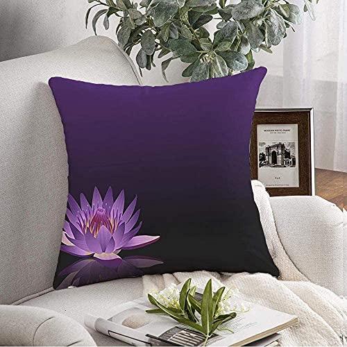Funda de almohada decorativa de reflejo suave, color negro, púrpura, con texto de reiki, chakra, flor de verano, flora natural, texturas de naturaleza natural de 45,7 x 45,7 cm