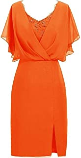 CladiyaDress Women V Neck Chiffon Short Mother of The Bride Dresses Evening Gowns D087LF