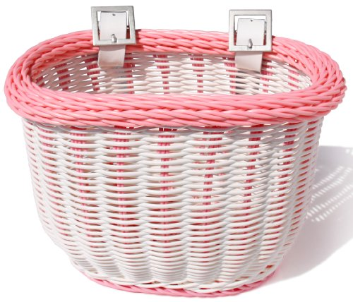 Colorbasket Kid's Front Handlebar Bike Basket,White with Pink Trim