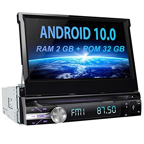 AWESAFE Android 10.0 [2GB+32GB] 7 Pulgadas Pantalla Universal 1 DIN Radio, Autoradio 1 DIN con CD DVD/WiFi/Navegador GPS/Bluetooth/Mandos Volantes/RDS/USB/SD/Subwoofer/Mirror Link