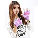 USB Heating Winter Gloves, Iusun Women Hand Warm Gloves Heated Fingerless Warmer Mitten (Purple)