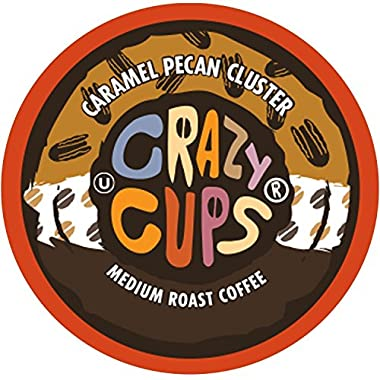 Crazy Cups Flavored Coffee, for the Keurig K Cups 2.0 Brewers, Caramel Pecan Cluster, 22 Count