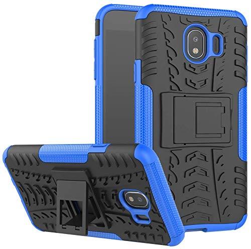Capa Capinha Anti Impacto Para Samsung Galaxy J8 2018 Tela 6Case Armadura Hybrid Reforçada Com Desenho De Pneu - Danet (Preto com Azul)