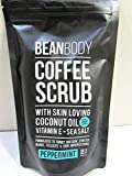 Mr. Bean Organic All Natural Coffee Bean Exfoliating Body Skin Scrub with Coconut Oil, Vitamin E, and Sea Salt - Peppermint