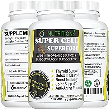 O Nutritions Certified Organic Sea Moss Super Cell Superfood Made with Organic Irish Sea Moss Bladderwrack and Burdock Root Wildcrafted Sea Moss Capsules Vegan Seamoss Pill  Super Cell Superfood