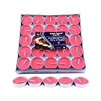 ロウソク キャンドルライト 結婚式 誕生日 室内 室外飾り 無香ティーライトキャンドル ろうそく おしゃれ ティーライト キャンドル 50個入り ロウソク 約2-4.5時間 ロマンチック 赤 (レッド)