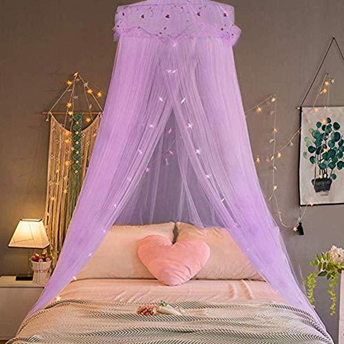 Piner Romantisch Klamboe Voor Dubbel Bed Koepel Opknoping Bed Gordijn Prinses Klamboe Netten Luifel Kamerdecoratie, Paars