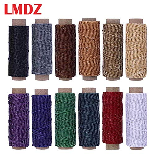 Find Bargain 12Color/Set 50m 150D Leather Sewing Waxed Thread Flat Waxed Sewing Thread Wax line Stit...
