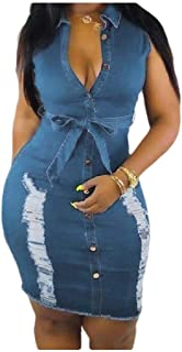 neveraway Womens Destroyed V Neck Washed Sleeveless Denim Party Bodycon Dress