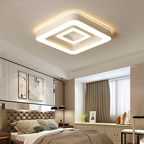 LED plafondlamp, 64 W, ultradun, modern, vierkant, plafondlamp, slaapkamerverlichting, plafondlamp, plafondlamp, metaal, acryl, woonkamer, decoratie, lampen 3000 Kelvin 4160 lm 45 cm × 45 cm × 6 cm, wit