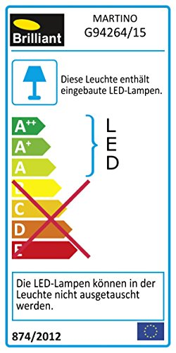 Brilliant G94264/15 Applique/plafonnier LED à 1 lumière MARTINO, 5W, metal/verre, coloris chrome/transparent, 5 W
