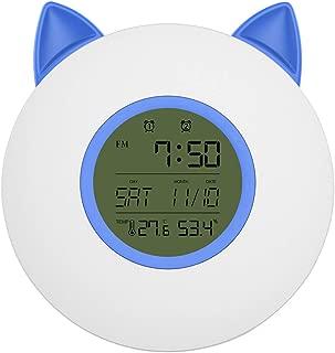 Deryohal 目覚まし時計 光 目覚ましライト 猫の顔型 LEDライト ベッドサイドランプ FMラジオ搭載 多色変換 輝度調節 ウェイクアップライト ダブルアラーム USB/電池給電 ベッドサイドランプ 温湿度表示 日の出&日没再現 多機能アラーム