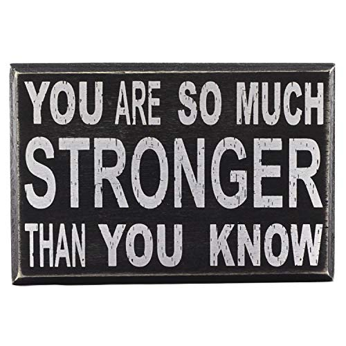 """You are So Much Stronger Than You Know Self Love Care 6""""x4"""" Inspirational Affirmation Wall Art Decor Box Sign with Quotes for Office Desk Home Kitchen Bedside Table or Shelf by Break The Chain"""