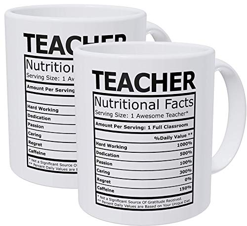 Willcallyou Pack of 2 Teacher Nutritional Facts 11 Ounces Funny White Coffee Mug