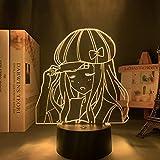 Lámpara de ilusión 3D Luz de noche de cabecera Led Habitación Anime Kaguya Sama Love Is The War Chika Fujiwara Figura para decoración de habitación Manga de cumpleaños -7 colores Sin control remoto