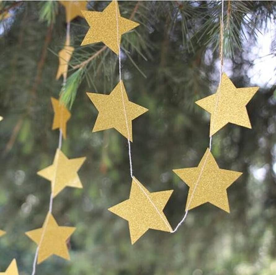 Since Circle Dots Paper Garland Pink White and Gold Glitter - Set of 4 (5 Feet Each) Total 20 feet. (Gold Star)