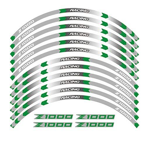 7 Color para Kawasaki Z1000 Propósito General Motocicleta de 17 Pulgadas Calcomanías de Ruedas Reflectantes Pegatinas Rim Stripes Z Motorbike Z1000 (Color : B Green)