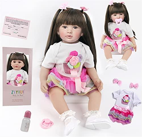 ZIYIUI Bambole Reborn Femmine 24 Pollici 60cm Realistico Bambole Reborn in Silicone Morbido Bambole Che Sembrano Vere Grandi con i Capelli Lunghi Bambola Bambina Bambina Toddler