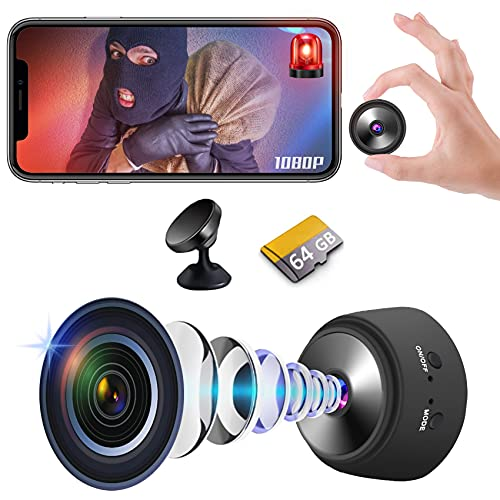 Mini Spy Camera WiFi Wireless Hidden Camera with Audio and Video 1080P Small Portable Nanny Cam with Phone App, Motion Detection, Night Vision for Bathroom Indoor Outdoor (with 64G SD Card)
