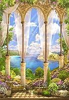 Assanu 3 x 5フィートビニール背景写真背景ファンタジーおとぎ話海景オールドストーンアーチビュー花藤日差し光線夏空雲庭別荘シーン子供大人花嫁女の子写真
