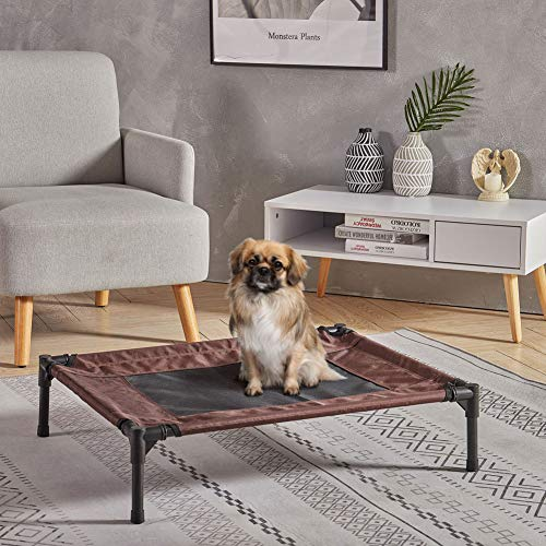 INMOZATA Cooling Elevated Dog Bed Hold 80kg£¬Raised Pet Cot Waterproof Cat Bed with Washable Removable Textilene Mesh for Small to Large Pet indoor Outdoor(76x61x18cm)
