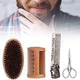 First choice Conjunto de cuidado de barba, juego de cuidado de barba, kit de recorte de barba, 4pcs Men Pein Bigache Brush Beard Peine Scissors Styling Beard Care Herramienta de herramienta para el af