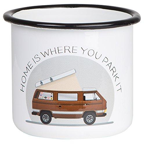 Hochwertiger Emaille Becher mit VW Bulli T3 Motiv Home is Where You Park IT leicht und bruchsicher, für Camping, Vanlife und Outdoor Activities- von MUGSY.de