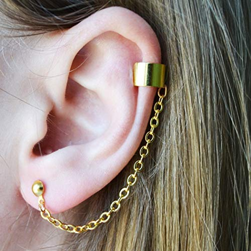 Stylish Cartilage Asymmetric Pair Of Ear Cuffs Stud Earring Girl Jewelry Post Body Chained Earring Set Modern Crawler